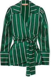 Wrap It Up striped silk-satin shirt