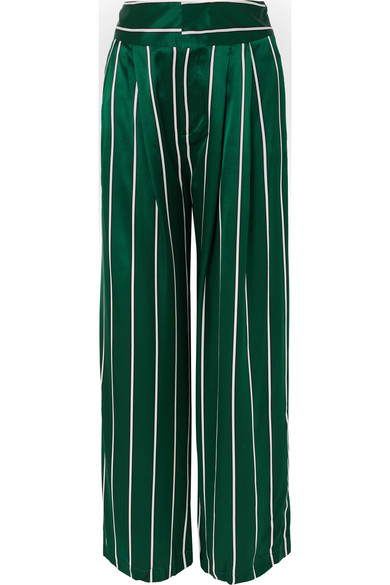 Maggie Marilyn LOVE UNCONDITIONALLY STRIPED SILK-SATIN WIDE-LEG PANTS