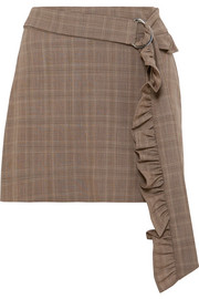 Maggie Marilyn Got My Mind Made Up belted checked organic wool mini skirt