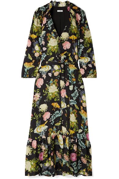 VILSHENKO Olivia floral-print silk-jacquard midi dress