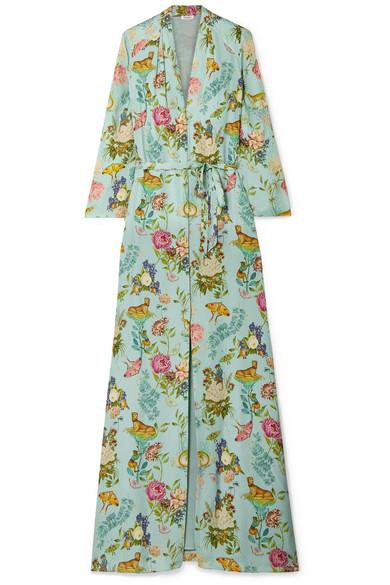 VILSHENKO Sylvia floral-print silk-jacquard maxi dress
