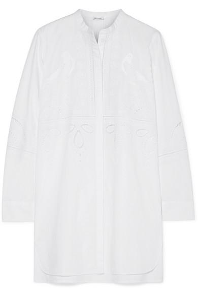 VILSHENKO Lulu embroidered broderie anglaise cotton-poplin tunic