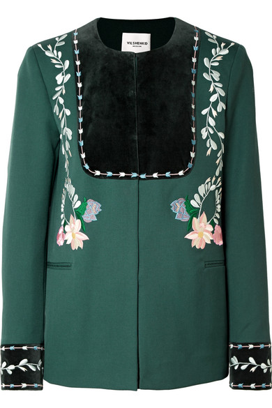 Vilshenko - Rosie Velvet-paneled Embroidered Wool-twill Jacket - Emerald