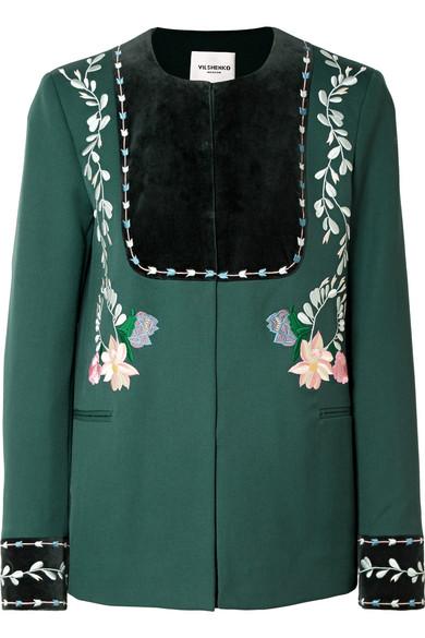 VILSHENKO Rosie velvet-paneled embroidered wool-twill jacket