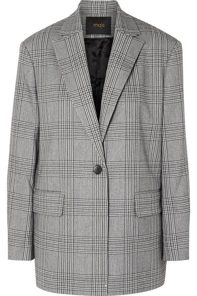 Vaime Plaid Single-Button Blazer, Gray