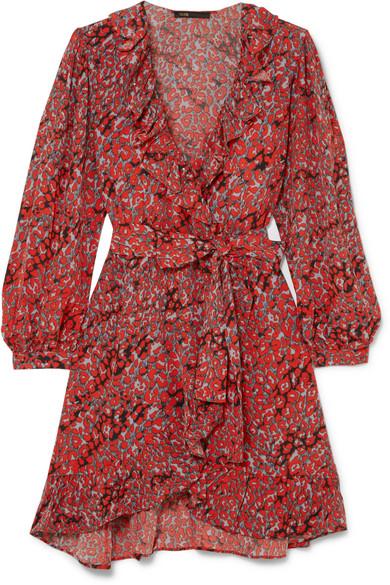 Ruffled Leopard-Print Crepe Wrap Mini Dress in Coral