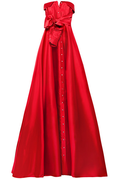 ALEXIS MABILLE Bow-Detailed Satin-Twill Gown in Red