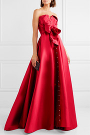 Alexis Mabille Bow-detailed satin-twill gown