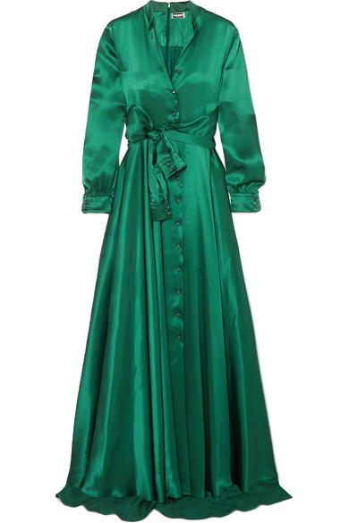 Alexis Mabille - Bow-detailed Embellished Duchesse-satin Gown - Emerald