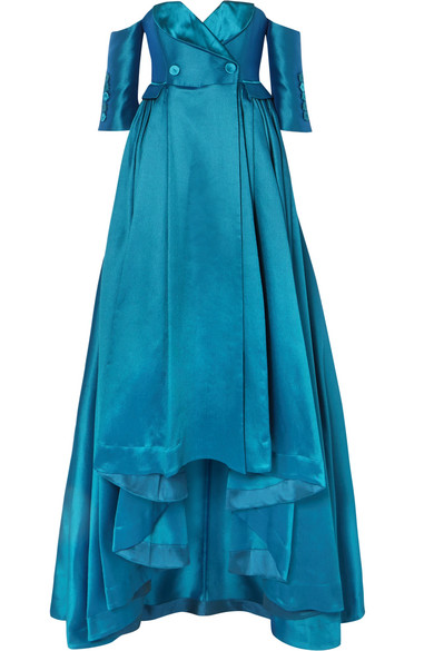 ALEXIS MABILLE Off-The-Shoulder Satin-Piqué Gown in Petrol