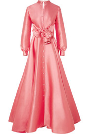 Embellished duchesse-satin gown