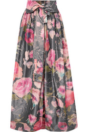 Bow-detailed floral-print organza maxi skirt