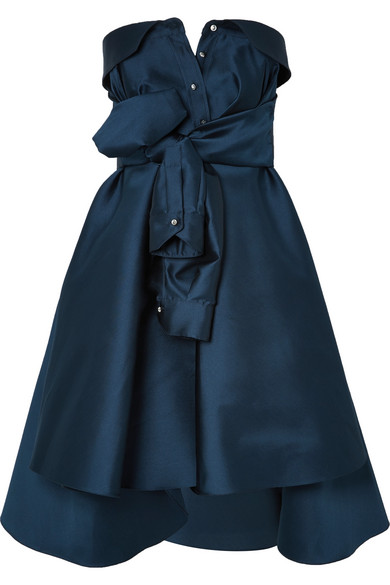 ALEXIS MABILLE Bow-Detailed Embellished Duchesse-Satin Mini Dress in Navy