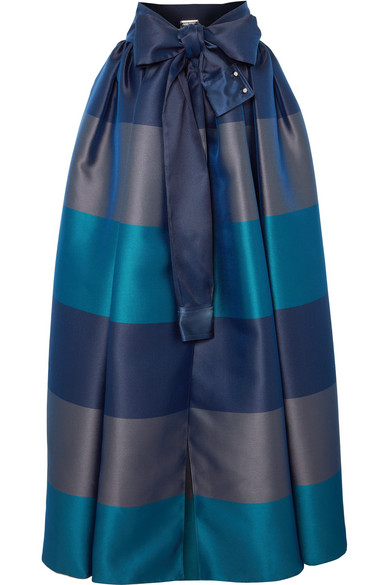 ALEXIS MABILLE Bow-Detailed Embellished Striped Satin-Piqué Maxi Skirt in Navy