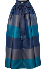 Alexis Mabille Bow-detailed embellished striped satin-piqué maxi skirt