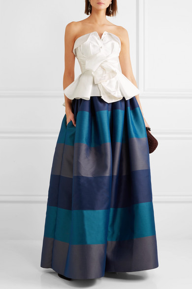 Bow-detailed Embellished Striped Satin-piqué Maxi Skirt - Navy Alexis Mabille Free Shipping Newest Cheap 2018 New In China 9PvsG