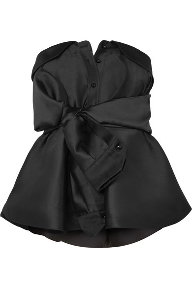 ALEXIS MABILLE Bow-Detailed Satin-Twill Top in Black