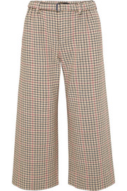 Cropped houndstooth tweed wide-leg pants