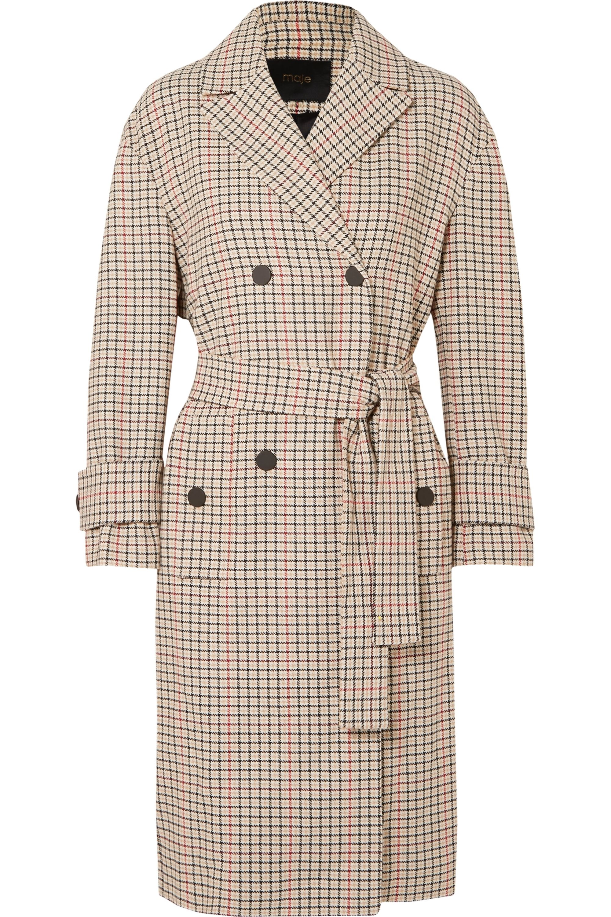 Maje Prince of Wales checked twill trench coat