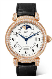 IWC SCHAFFHAUSEN Da Vinci Automatic Moon Phase 36 alligator, 18-karat red gold and diamond watch