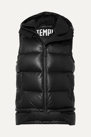 Tuscan hooded quilted leather down gilet