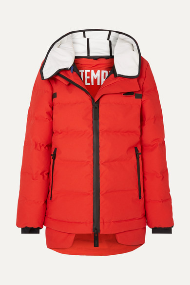 TEMPLA | TEMPLA - 3l Hooded Waterproof Quilted Shell Down Jacket - Red | Goxip