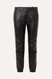Nili Lotan Cropped leather tapered pants