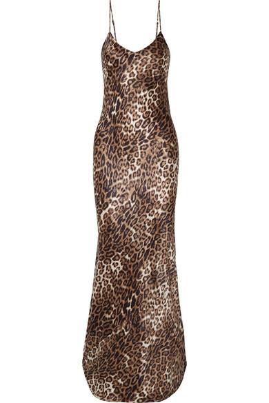 Nili Lotan - Leopard-print Silk-satin Maxi Dress - Leopard print
