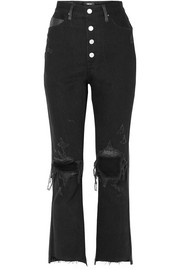 AMIRI Leather-paneled distressed high-rise flared jeans