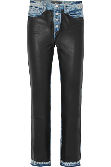 97bb30be872c Hoch sitzende Jeans mit geradem Bein aus Leder und Denim