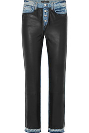 AMIRI Paneled leather and denim high-rise straight-leg jeans