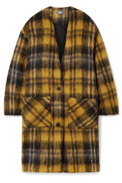 Amiri OVERSIZED CHECKED MOHAIR-BLEND COAT