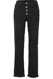 AMIRI Crystal-embellished distressed high-rise straight-leg jeans