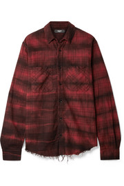 AMIRI Cloud frayed checked cotton-flannel shirt