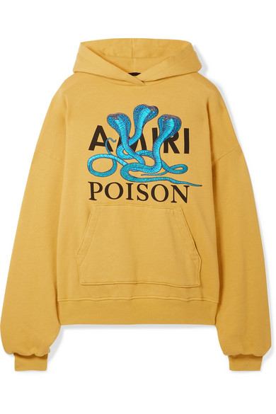 """Poison"" Snake Cotton Hoodie - Yellow Size L"