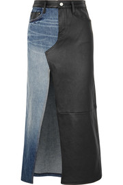 AMIRI Asymmetric denim and leather midi skirt