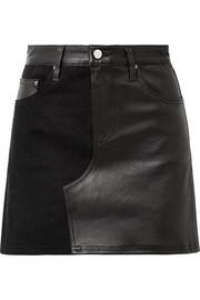 AMIRI Leather and denim mini skirt