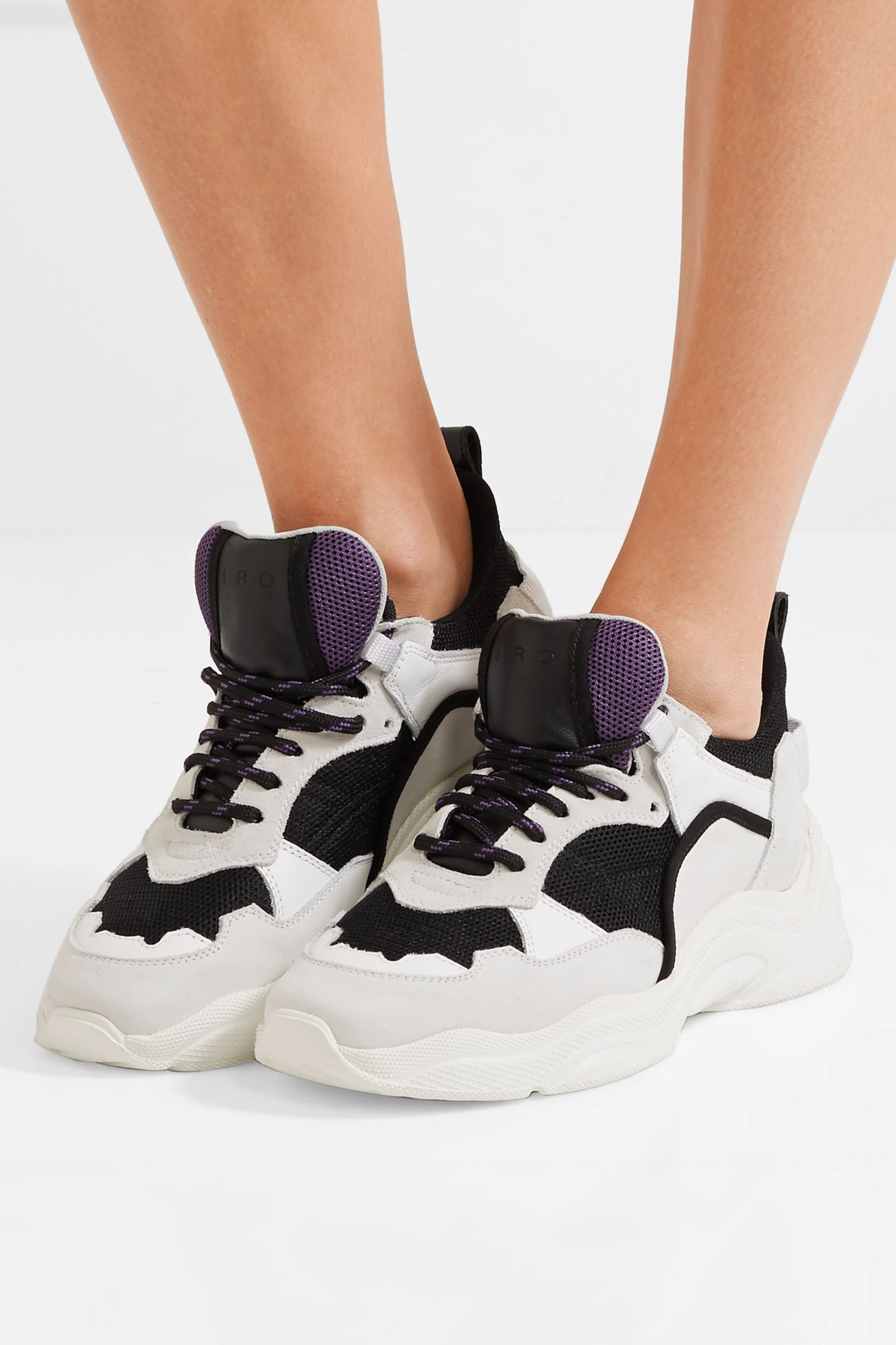 IRO Curverunner suede-trimmed leather and mesh sneakers