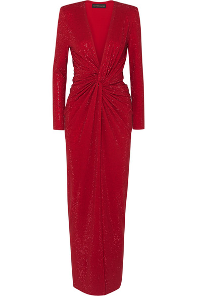 Alexandre Vauthier - Twist-front Crystal-embellished Stretch-crepe Gown - Red