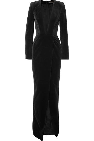 Cotton-velvet gown
