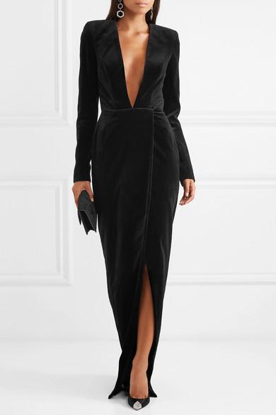 where to buy sells pre order Cotton-velvet gown