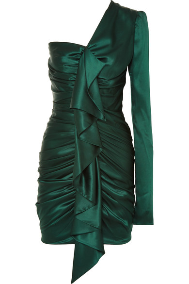 Alexandre Vauthier - One-shoulder Ruched Silk-blend Satin Mini Dress - Emerald