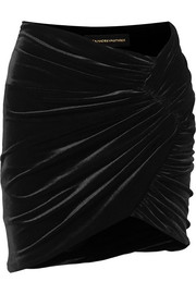 Alexandre Vauthier Ruched stretch-velvet mini skirt