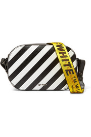 Striped textured-leather camera bag