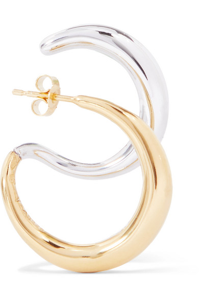 Gold Vermeil And Silver Earring by Charlotte Chesnais