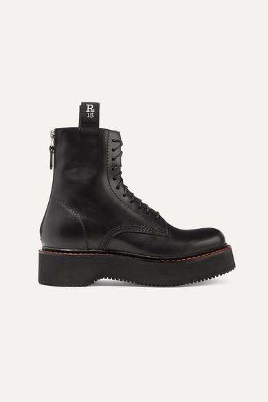 R13 Black Stack Platform Lace-up Boots