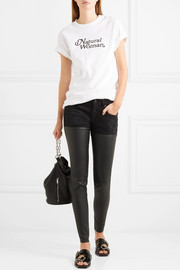 R13 Chaps leather-paneled mid-rise skinny jeans