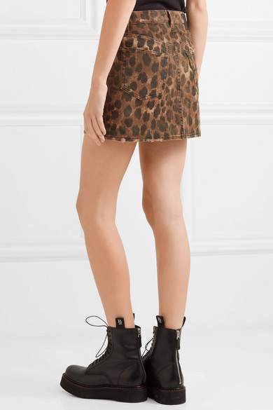 a403add64 R13 | Distressed leopard-print denim mini skirt | NET-A-PORTER.COM