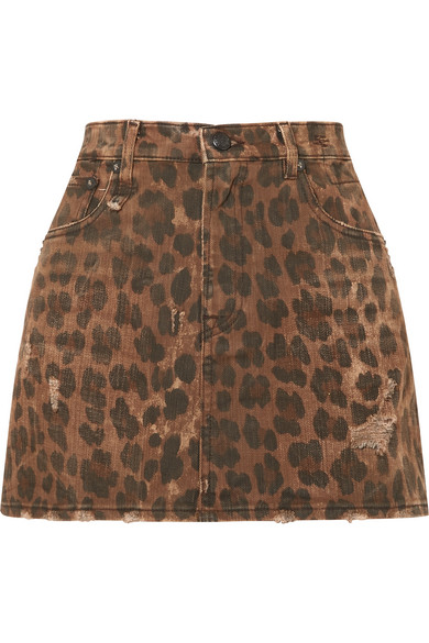 R13 - Distressed Leopard-print Denim Mini Skirt - Leopard print