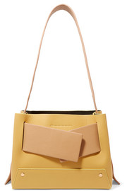 Biggy color-block textured-leather tote